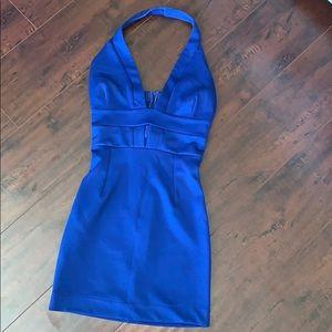 Mystic XS Royal Blue Halter Dress Mini Fitted